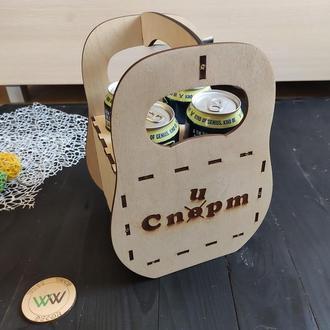 Деревянный ящик-переноска для пива, пивной ящик, из дерева