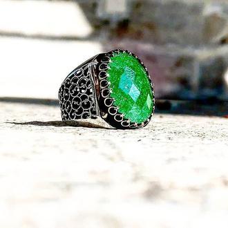 Мужское серебряное кольцо Циркон
