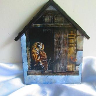 Ключниця-будиночок 'Совеня-2 ', настінна у вітальню, дитячу.