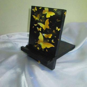 Подставка для телефона, смартфона, планшета. электронной книги ′Золотые бабочки′
