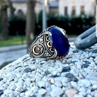 Серебряное мужское кольцо Янтарь