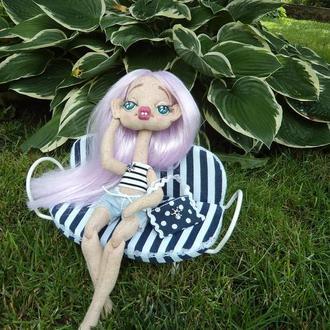 """Текстильная кукла, Интерьерная кукла """"Хлоя"""", Кукла в кресле. Морской стиль"""