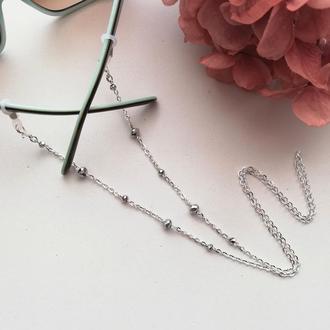 Цепочка для очков Silver style crystals. Ланцюжок для окулярів.