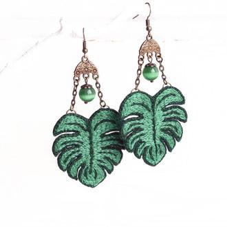 Летние серьги Монстера Зеленые серьги с ручной вышивкой и бусинами