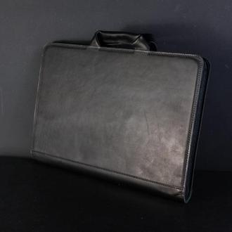 Чехол для MacBook кожа Итальянский краст цвет Черный