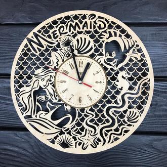 Дитячі годинник на стіну з дерева «Русалонька»