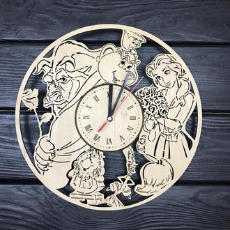 Hamdmade часы из дерева «Красавица и чудовище»
