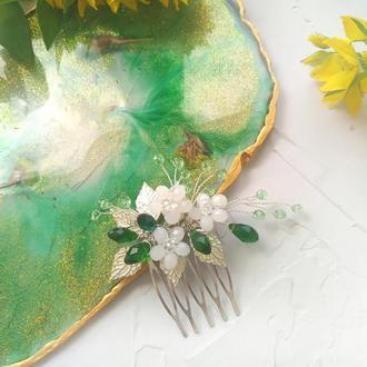 Минигребень « Блики изумрудов», свадебный гребень, цветочный гребень