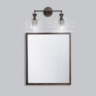 Светильник настенный черный ROYAL бра из массива ясеня, металла и винтажного хрустального абажура