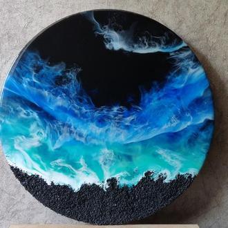 Картина смолой (resin art, морская картина, океан смолой, интерьерная картина)
