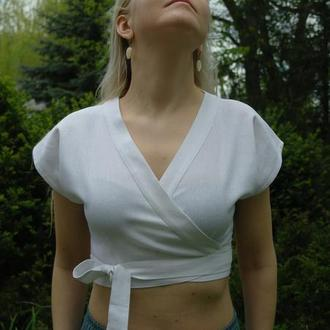Летний топ (блуза) на запах из льна в цветовой палитре на выбор