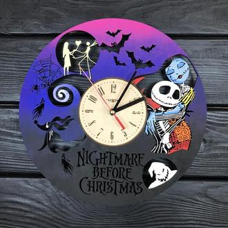 Часы настенные цветные из дерева «Кошмар перед Рождеством»