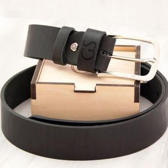 Оригинальный кожаный ремень с гравировкой инициалов, классическая серебрянная пряжка