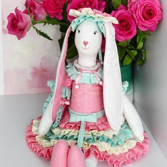 Пасхальный кролик , Зая Зефирка , текстильная интерьерная кукла заяц в стиле тильда