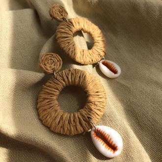 Плетеные серьги, серёжки, сережки кольца, плетені сережки, летние серьги, літні сережки