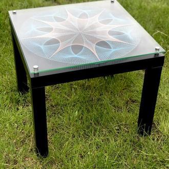 Стильный журнальный кальянный столик  в стиле стринг арт, coffee table string art