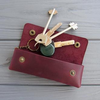 Шкіряна ключниця на кнопке_ключница для довгих ключів
