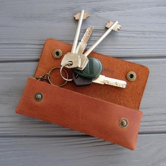 Кожаная ключница на кнопках_ключница для длинных ключей_коричневый