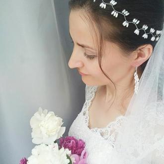 """Свадебный венок для волос (веточка для невесты, праздничный ободок) """"Kira"""""""