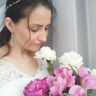 """Свадебный комплект: венок для волос (веточка для невесты) и серьги """"Verona"""""""