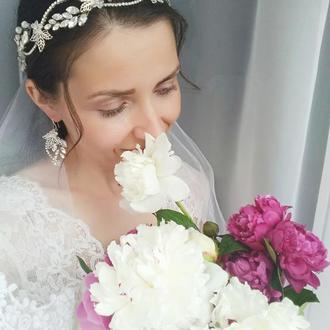 """Свадебный венок для волос (веточка для невесты, праздничный ободок) """"Iris"""""""