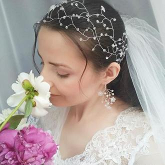 """Свадебный комплект: венок для волос (веточка) и серьги) """"Ella"""""""