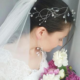 """Свадебный комплект: венок для невесты (веточка) и серьги """"Marta"""""""