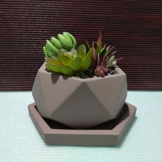☯Большой горшок для цветов с подставкой, бетонное кашпо (Код ГАНЕША)☯➧ телесный