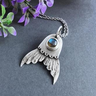 Серебряный кулон Хвост русалки с синим лабрадором. Фэнтези украшение. Оригинальный подарок девушке