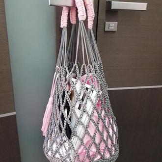 Авоська сумка с дополнительным мешочком. Розовая авоська, серая вязанная сумка авоська Киев Днепр