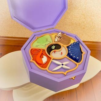 Шкатулка с талисманами Леди Баг для камней чудес из дерева для девочки