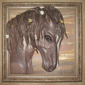 Объёмная картина из натуральной кожи лошадь Розали