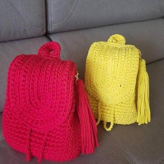 Рюкзаки на заказ.Рюкзак красный женский, рюкзак вязанный желтый вязанные крючком рюкзаки Одесса Киев