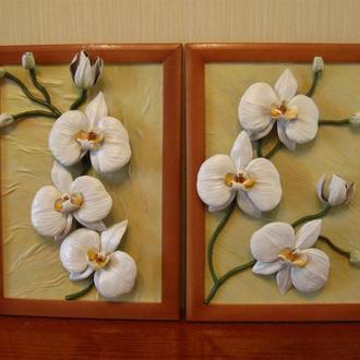 Объёмная картина из натуральной кожи Белые орхидеи