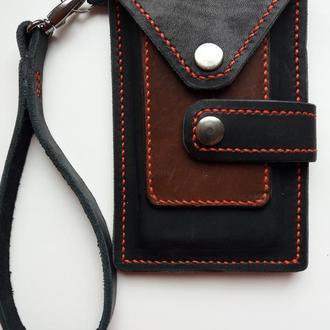 Мужской кожаный кошелек - чехол для телефона.