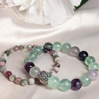 Набор браслетов из натуральных камней (флюорит и цоизит)