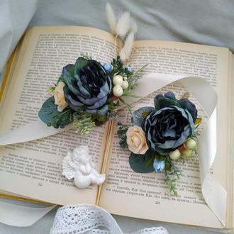Комплект бутоньерок в цвете Петроль Буоньерка на пиджак Бутоньерка на руку