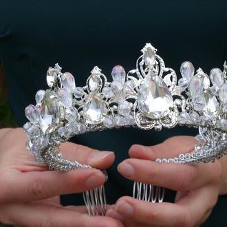 Свадебная диадема для невесты, диадема на свадьбу, свадебная корона, тиара свадебная