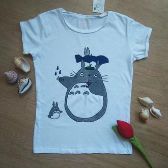 Футболка аниме Тоторо, футболки для детей 5, 6, 8 лет