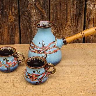 """Набір кавовий (турка 500 мл. з двома горнятками), декор """"Крайка"""" блакитна"""