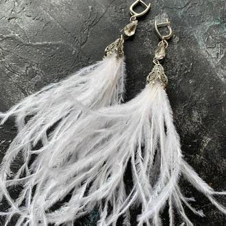 серьги перья серьги с перьями серьги перышки