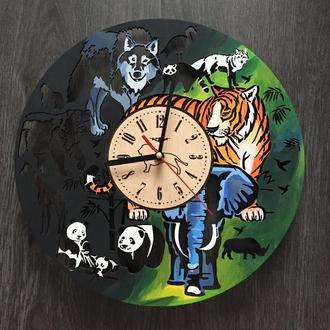 Большие круглые настенные цветные часы «Джунгли»