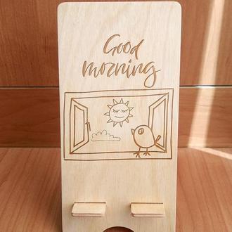 """""""Утреннее приветствие"""" эко подставка для смартфона, планшета 4"""