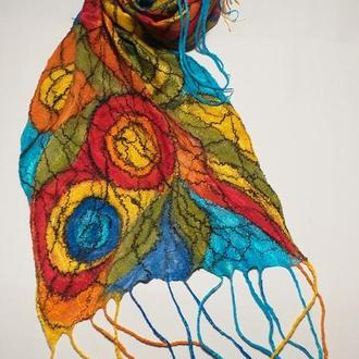 Войлочный шарф FANTASY. RAINBOW.Рождение радуги