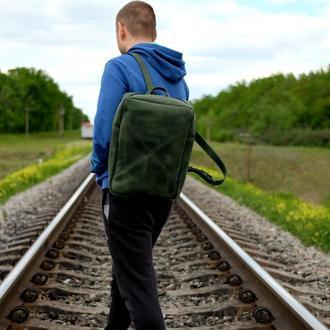 Зеленый кожаный рюкзак под ноут