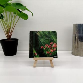 Красный мак, миниатюра магнит с маками пейзаж масляными красками
