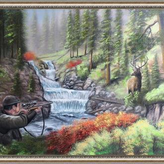 Картина, Охота на оленя, 50х70 см. Живопись на холсте, отличный подарок, декор интерьера