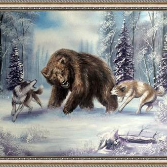 Картина, Полювання на ведмедя, 50х40 див. Живопис на полотні, відмінний подарунок, декор інтер'єру
