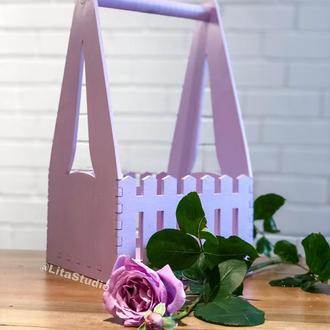 Подарочная деревянная корзинка (21*21*39 см)