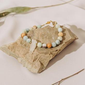 Браслет с кварцем и амазонитом, браслет из натуральных камней